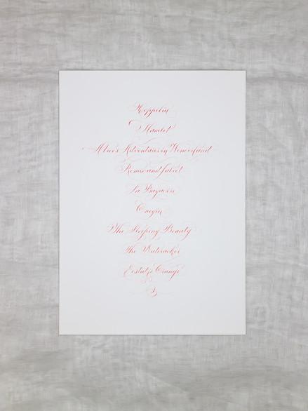 Cahrlotte's Ballet Calligraphy Gift