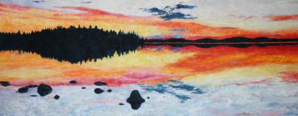 Auringonlasku Inarilla / Sunset at lake Inari