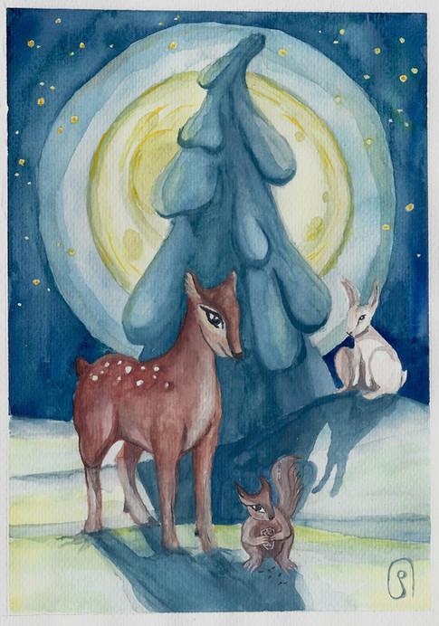 Joulukorttikuvitus / Christmas card illustration