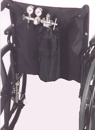 O2 D-Tank Holder for Wheelchairs with Push Handles Back View