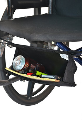 Under Seat Glove Box for Wheelchairs Front Profile View in Use
