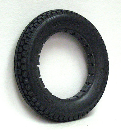 """12 1/2"""" x 2 1/4"""" Dark Gray Solid Urethane Tire With Knobby Tread Side Profile View"""