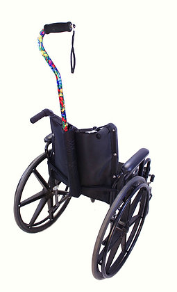 Cane Holder for Wheelchairs with Push Handles Back View in Use
