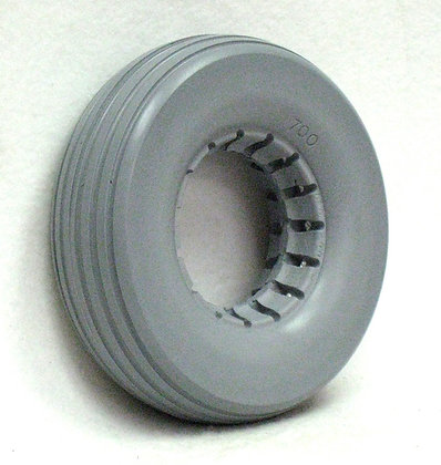 """8"""" x 2 1/4"""" Light Gray Solid Urethane Tire With Rib Tread Side Profile View"""