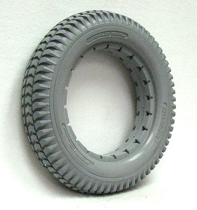 """14"""" x 3"""" (3.00-8) Gray Solid Urethane Tire With Knobby Tread Side Profile View"""
