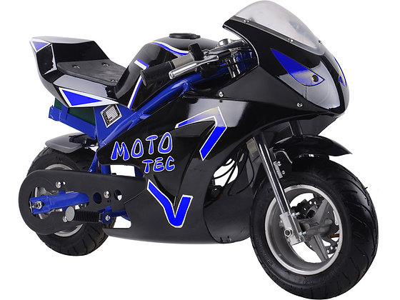 MotoTec 36v 500w Electric Pocket Bike GT Blue Right Side Profile View