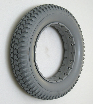"14"" x 3""(3.00-8) Gray Solid Urethane Tire With Knobby Tread (Wide Bead) Side Profile View"