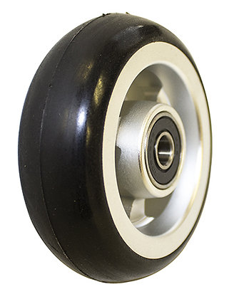 "3"" x 1"" Caster Wheels With 5/16"" (608-2RS) Bearings and Black Tire (Pair) Front Profile View"