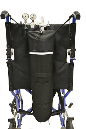 O2 E-Tank Holder for Wheelchairs with Push Handles Back View