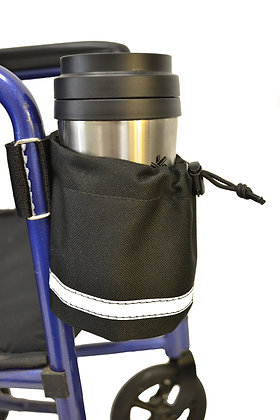 Vertical Mount Cupholder for Mobility Scooters, Power Chairs and Wheelchairs Side View in Use
