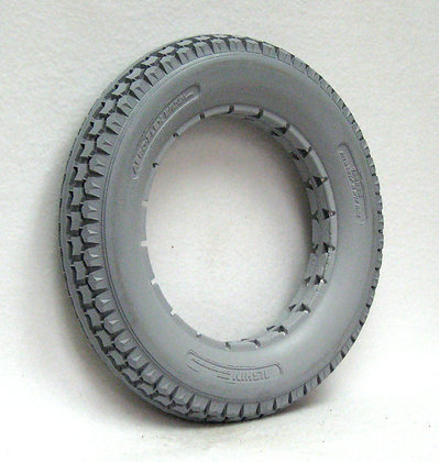 "12 1/2"" x 2 1/4"" Gray Solid Urethane Tire With Knobby Tread Side Profile View"