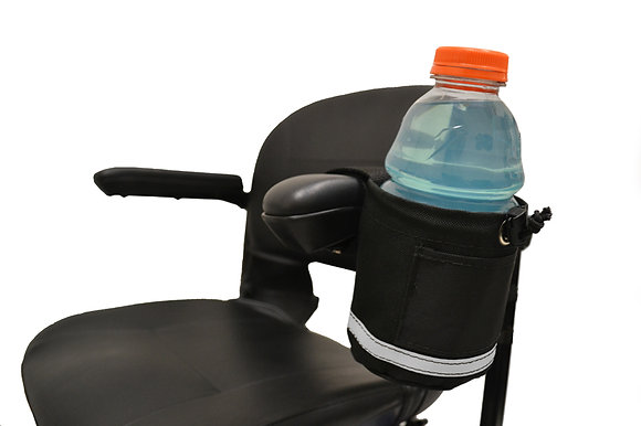 Horizontal Side Mount Cupholder for Mobility Scooters, Power Chairs and Wheelchairs Side View in Use