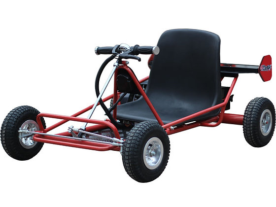 MotoTec Solar Electric Go Kart 24V Red Right Side Profile View