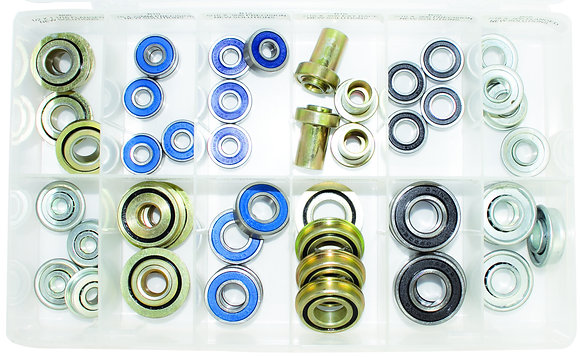 48 Piece Bearing Kit (Various Sizes) Open Overhead View