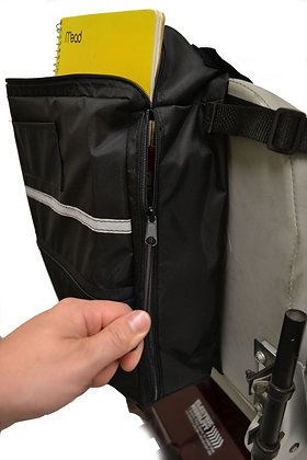 Side Access Seat Back Bag for Wheelchairs, Mobility Scooters and Power Chairs Side View in Use