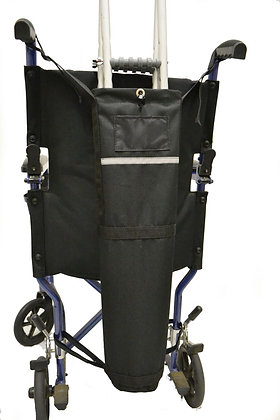 Crutch Holder for Wheelchairs with Push Handles Back View