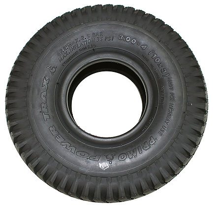 """10"""" x 3"""" (3.00-4, 260x85) Black Pneumatic Tire With Power Trax Tread Side View"""