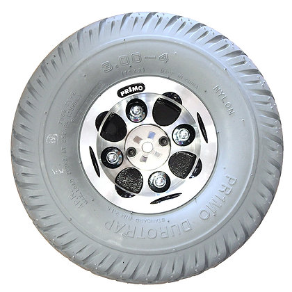 "3.00-4 (10""x3"", 260x85) Foam-Filled Rear Drive Wheel for Shoprider Streamer Front Side View"
