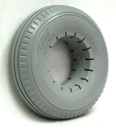 """9"""" x 2 3/4"""" (280-250x4) Gray Solid Urethane Tire With Sawtooth Tread Side View"""