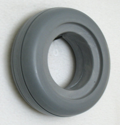 """6"""" x 2"""" (150x50) Gray Solid Urethane Tire With 2 Rib Tread Side View"""