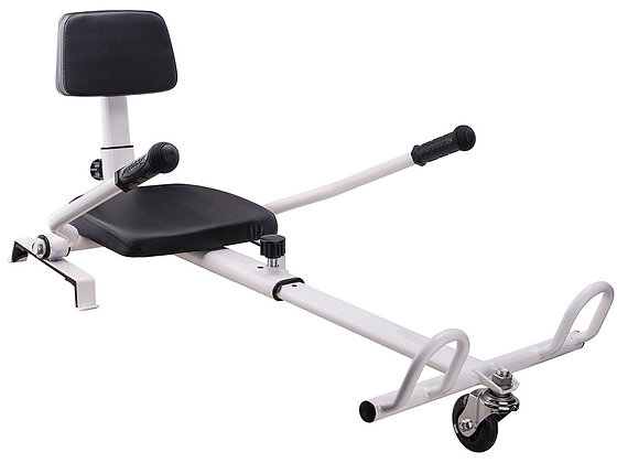 MotoTec Self Balancing Scooter Go Kart Attachment White Right Side Profile View