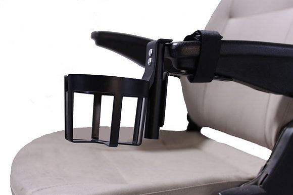 Cupholder for Most Mobility Scooters and Power Chairs with Molded Armrests Side View