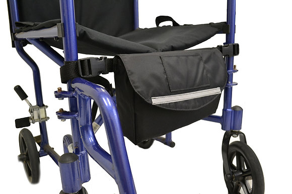 Down In Front Single Pocket Under Seat Bag for Wheelchairs Front Profile View
