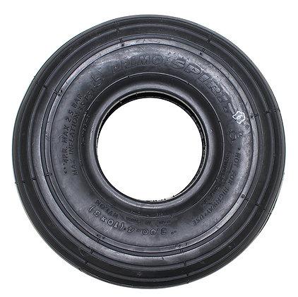 "10"" x 3"" (3.00-4, 260x85) Black Pneumatic Tire With Rib Tread (Primo) Side View"