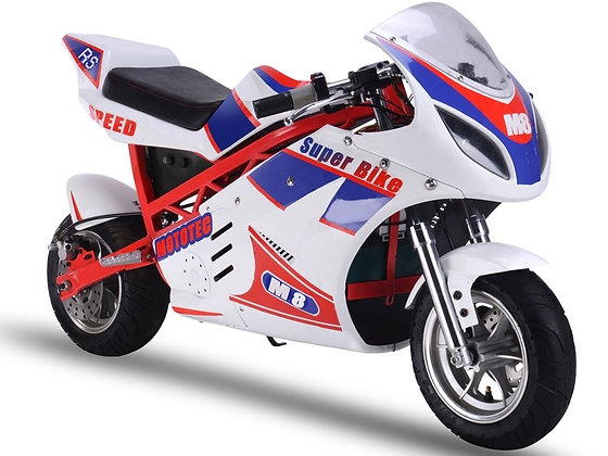 MotoTec 1000w 48v Electric Superbike White Right Front Profile View