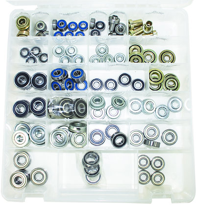 100 Piece Bearing Kit (Various Sizes) Open Overhead View