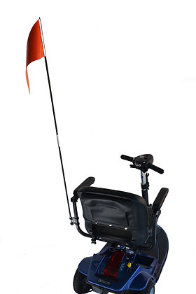 Folding Safety Flag with Mounting Hardware for Mobility Scooters and Wheelchairs Back View in Use