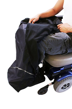 All Weather Chaps for Power Chairs and Mobility Scooters Front View in Use