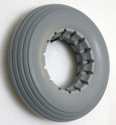"""7"""" x 2"""" Gray Solid Urethane Tire With Rib Tread Side Profile View"""