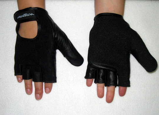 Push Gloves 1/2 Fingers Full Thumb Front and Back View