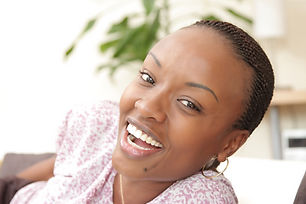 Picture of a happy young black woman  at