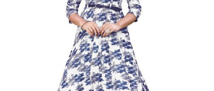 Printed Blue Knee Length Crepe Dresses