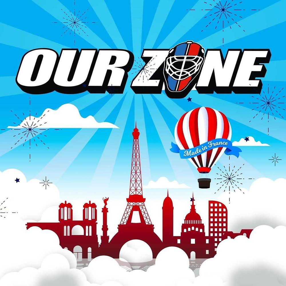 Logo de l'association our zone, hockey sur glace, présentation du partenariat avec Dimitri Chardin, ostéo du sport en essonne