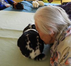 Pause câlin avec notre lapin Oreo