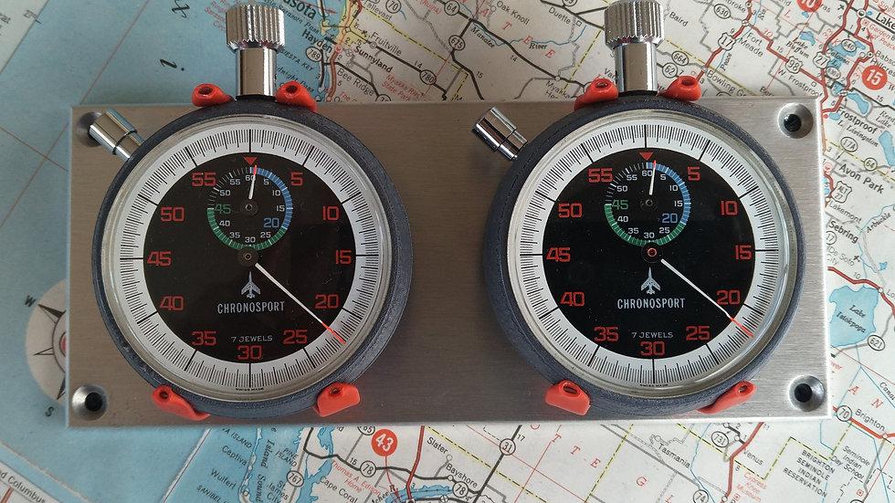 STUNNING 2X CHRONOSPORT 60s + 60m DASH MOUNTED TIME KEEPING SET