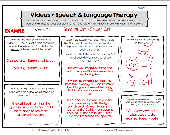 A sheet with language prompts and a list of recommended videos your child can watch on YouTube