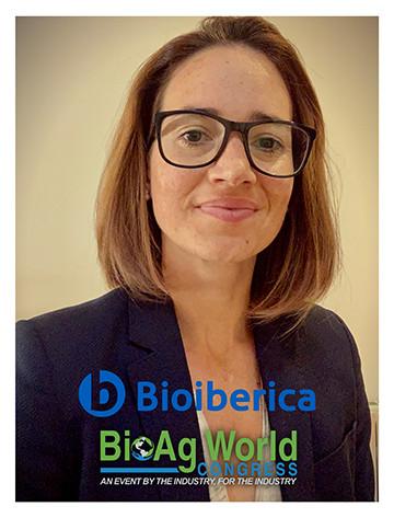 Laia Cortel Carrasco, Managing Director, Plant Health, Bioiberica; Bioiberica logo, BioAg World Congress logo