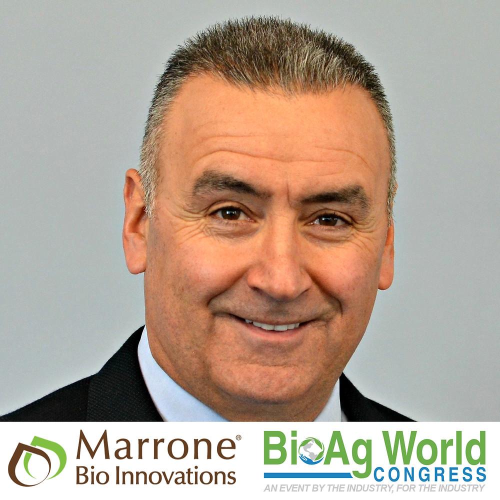 Photo of Kevin Helash, Marrone Bio logo, BAW logo