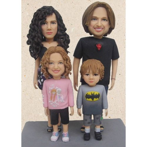 personalized clay figurine family displa