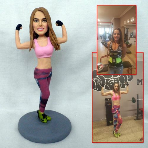 personalized clay figurine woman fitness