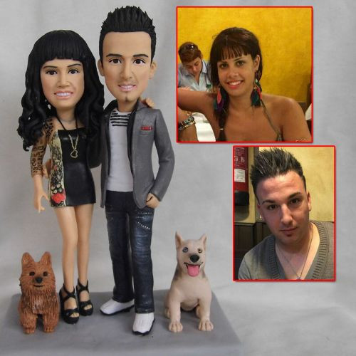 custom handmade clay figurine couple wit