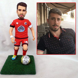 personalized clay figurine soccer player