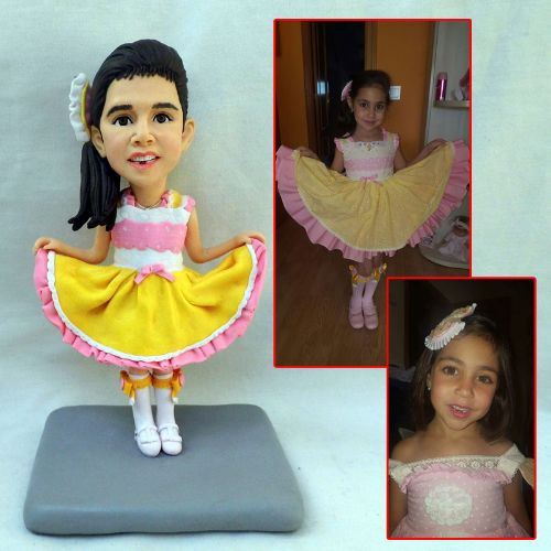 custom handmade clay figurine girl dress