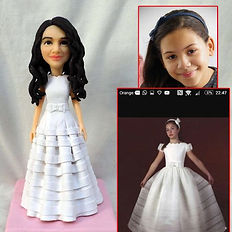 personalized clay figurine girl in dress