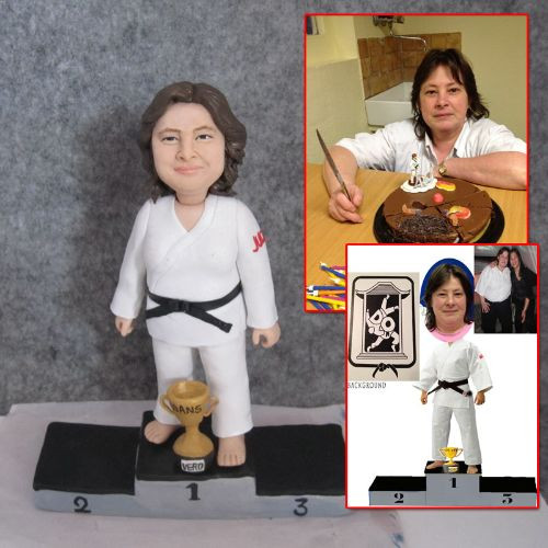custom handmade clay figurine karate wom
