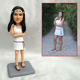 custom handmade clay figurine hippie gir